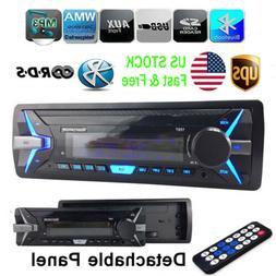 1 Din Car Stereo Radio RDS AM FM MP3 Player Bluetooth Detach