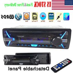 1Din Car Stereo Radio RDS AM FM MP3 Player Bluetooth Detacha