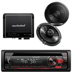 "2 Pioneer 6.5"" Speakers, Pioneer CD AUX Mp3 Car Radio, 500W"