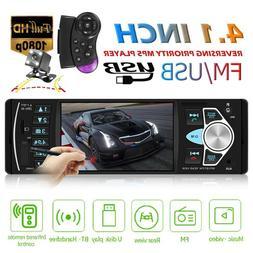 4.1'' Car Radio 1Din Audio Stereo BT Steering Wheel Remote C