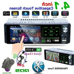 """4.1"""" Single 1 DIN Car Stereo Radio RDS AM FM Bluetooth Touch"""