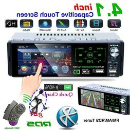 "4.1"" Single 1 DIN Car Stereo Radio RDS AM FM Bluetooth Touch"