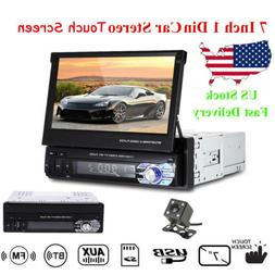 7'' 1 Din Car Radio SD Stereo FM Head Unit Audio Flip Out To