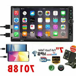 """7"""" 2 DIN Car Stereo GPS FM Radio MP5 Player Touch Screen Blu"""