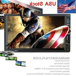"7"" 2 Din HD 1080P Touch Screen Car FM/MP5 Player Bluetooth S"