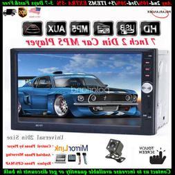 "7""2 Din Touch Screen Car Radio+Camera Bluetooth Mirror Link"