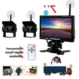 "7""  Backup Camera Car Rear View Monitor 2 X Wireless RV Truc"