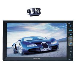 """7"""" Car Radio Stereo 1080P Video Double Din + Camera Mirror L"""