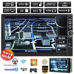 "7"" Double 2DIN Car Radio Stereo DVD Player GPS Bluetooth USB"
