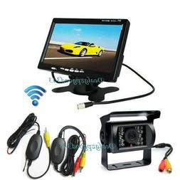"7"" LCD Monitor Vehicle Car Rear View Kit + Wireless 18IR Rev"
