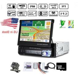 "7"" Single Din Car Stereo Radio MP5 Player GPS SAT NAV US Map"
