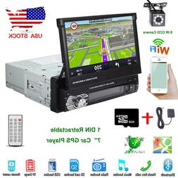 "7"" Single 1DIN Retractable Car Radio Stereo MP5 Player GPS N"