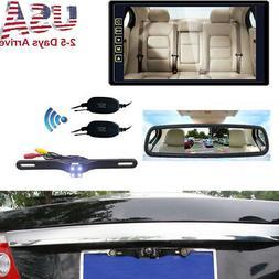 "9"" Car Auto Rear View Mirror Monitor+ HD IR Wireless Back Up"