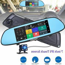 7'' 1080P Dual Lens Touch Screen Car DVR Rear View Mirror Vi