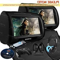 XTRONS Black 2X Twin Car headrest DVD pl