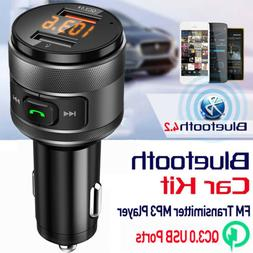 Bluetooth 4.2 FM Transmitter Adapter Car Radio MP3 Player W/