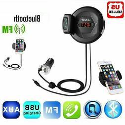 Bluetooth Car FM Transmitter MP3 Radio Adapter phone holder
