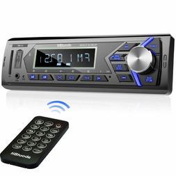 Bluetooth Car Stereo Radio Receiver,Single Din Mechless Digi