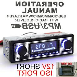 Bluetooth Vintage Car FM Radio MP3 Player USB Classic Stereo