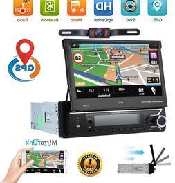 "Car Radio 7"" 1 DIN Audio Retractable GPS Navi Bluetooth Ster"