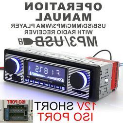 Car Radio MP3 Player Stereo FM USB AUX Classic Bluetooth Car