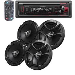 """Kenwood CD Car Stereo Receiver with USB/CD W/ 2X JVC 6.5"""" 60"""