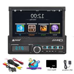 HD 1Din 7'' Car Stereo Radio Player BT GPS Navigation Rear V