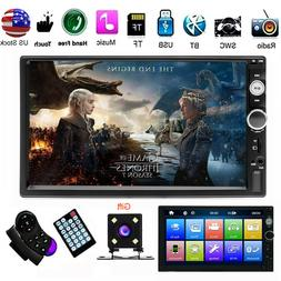 """HD 7"""" Double 2 DIN Touch Screen Bluetooth Car Stereo Radio F"""