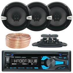 "InDash Kenwood Car AM FM Radio Receiver, 4x JVC 6.5"" Speaker"