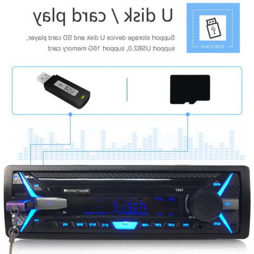 1Din Car RDS AM FM MP3 Player Bluetooth SD 12V