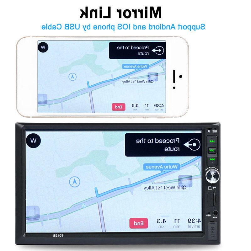 """2 DIN 7"""" Stereo Radio MP5 Player AUX Link Screen"""