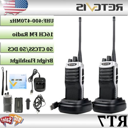 2 x Retevis RT7 Walkie-Talkie UHF 400-470MHz 16CH 5W CTCSS/D