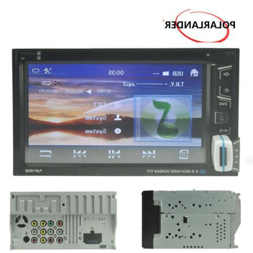 """6.8"""" 2 Car Radio DVD AM/FM Touch Screen Control +Camera"""