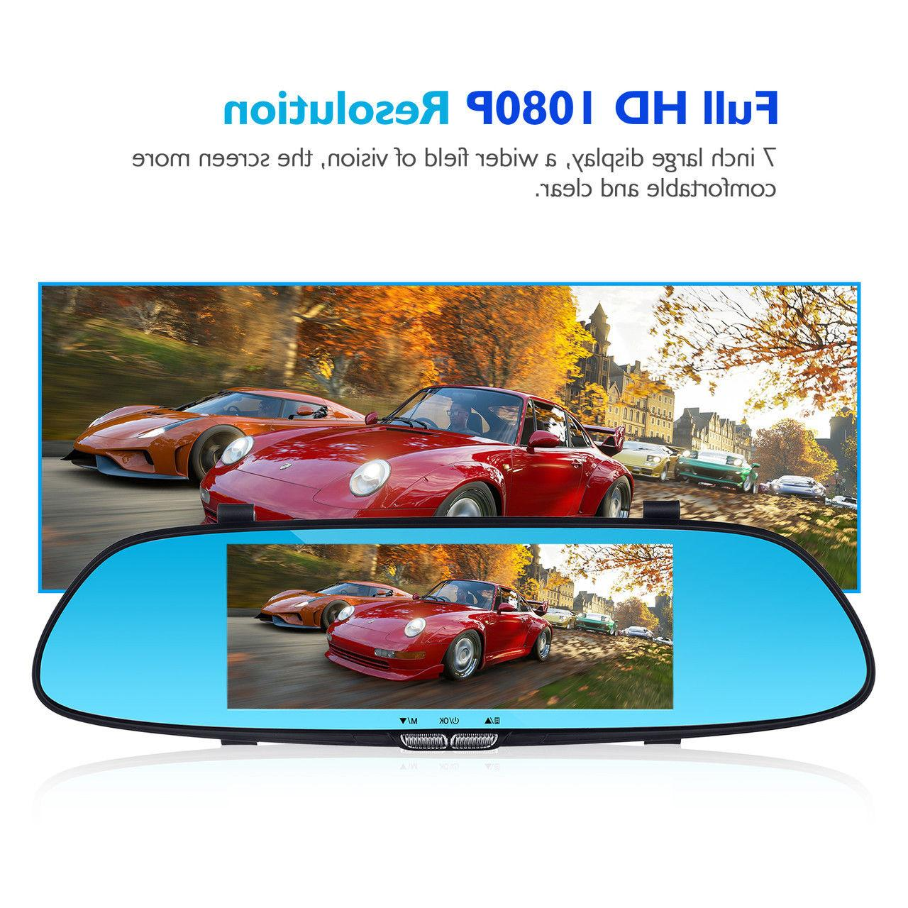 7'' 1080P Dual Touch Car DVR Rear View Camera Recorder