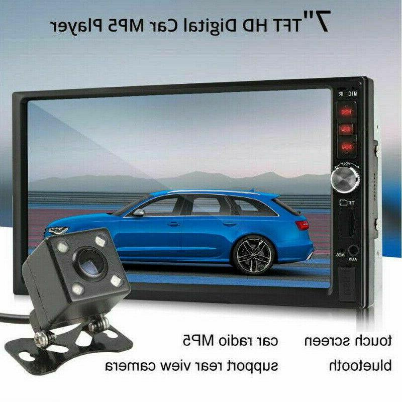 "7"" 2 Car Stereo FM MP5 Bluetooth Camera"