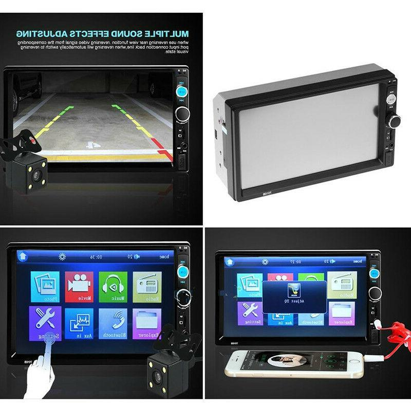 "7"" Touch Double 2 Car MP5 Player Bluetooth Stereo Radio Camera"