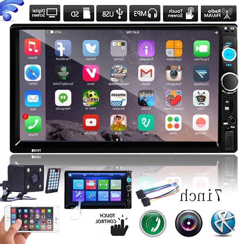 "7"" Touch Double 2 MP5 Player Bluetooth Radio Camera"