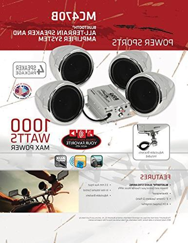 BOSS MC470B 1000 Motorcycle/ATV Sound System Bluetooth Audio Streaming, Pairs of 3 Speakers, Volume Control