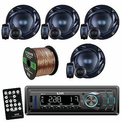 """Pyle PLR34M AM FM Car USB Radio,Autotek ATS65C ATS 6.5"""" Spea"""