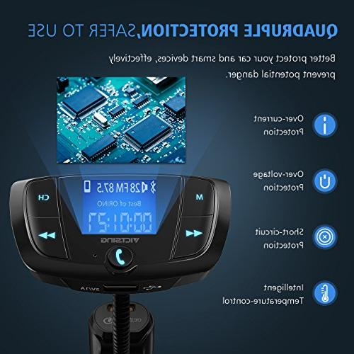 VicTsing QC3.0 Transmitter, Car Transmitter Screen, Hands-Free Calls, USB via Bluetooth, U Disk and TF