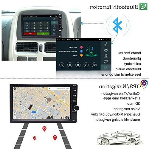 YODY Double Car Stereo 7 Inch Dash GPS Navigation Support WiFi Bluetooth Mirror Link SWC OBD with Backup