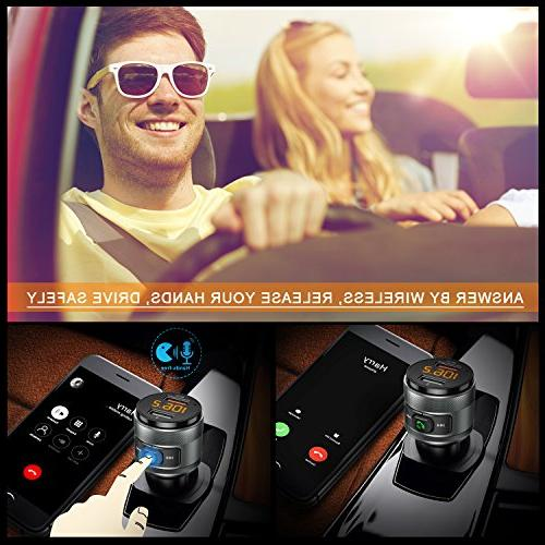 Bluetooth Car, QC3.0 FM Music Player Car with Hands Free Support Flash
