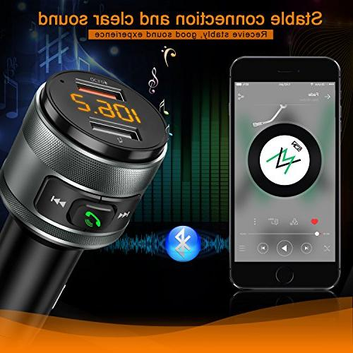 Bluetooth FM for Car, QC3.0 FM Radio Player Kit Hands Support Drive