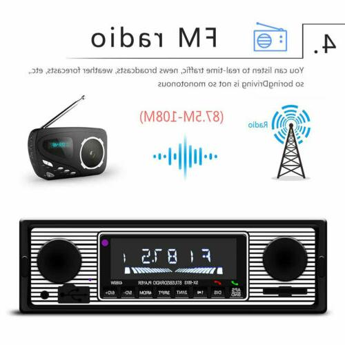 US Car Bluetooth Radio Player Stereo USB/AUX Classic Stereo