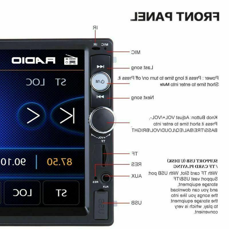 """Car Stereo Radio Bluetooth Audio Din 7"""" Touch Screen AUX TF"""