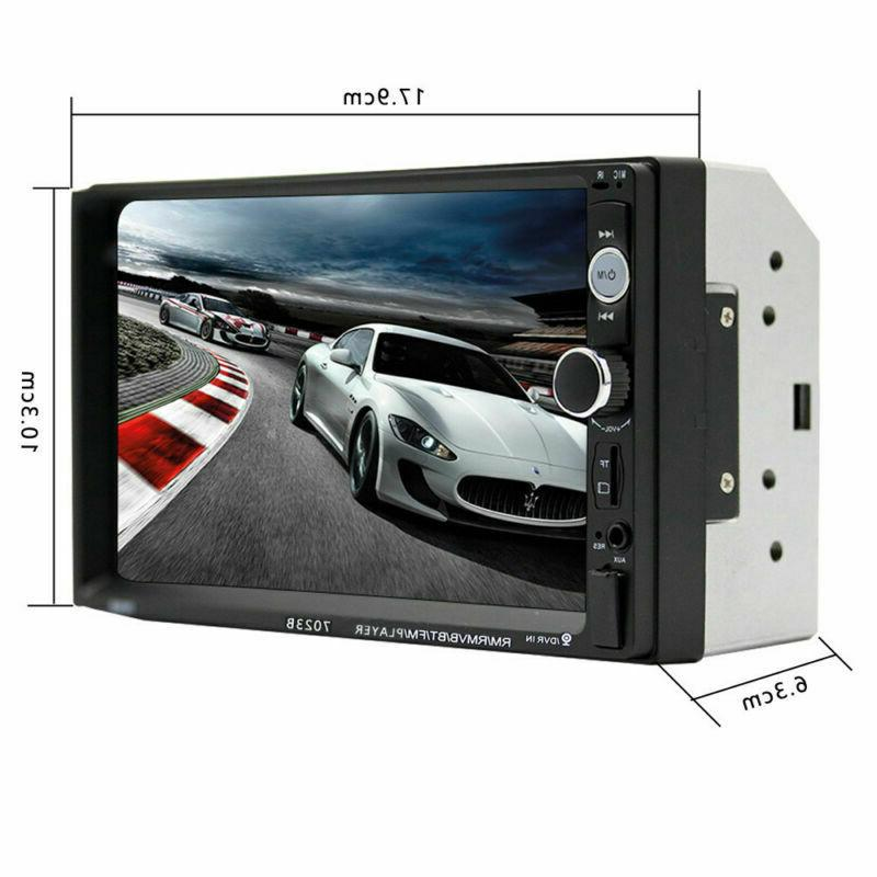 """Car Stereo Radio Bluetooth Audio Receiver Double Din 7"""" Touch USB AUX TF"""