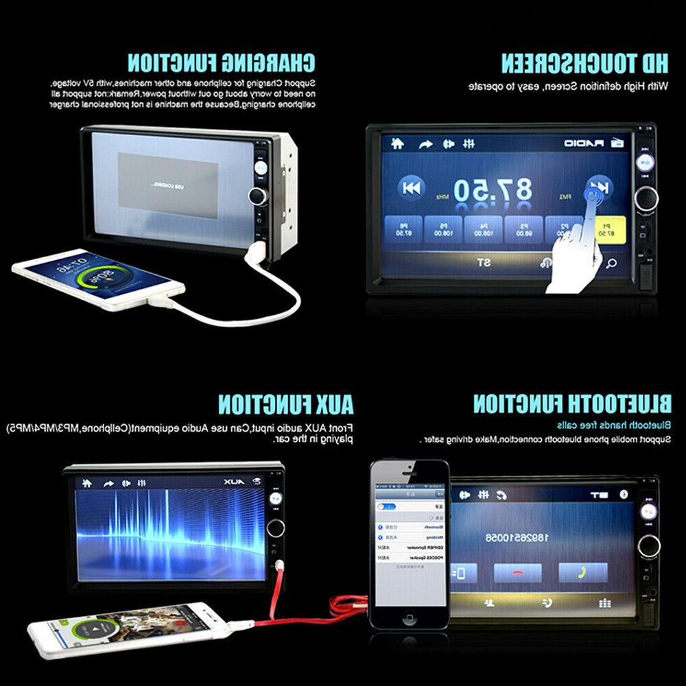 "Bluetooth Car 2DIN 7"" FM Player + Camera"