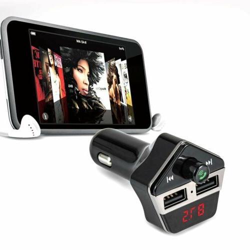 Car Wireless FM Bluetooth Transmitter For MP3 Music Radio Pl