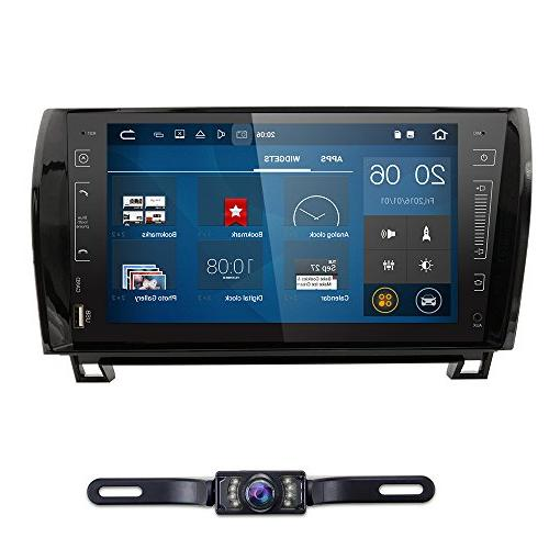 in Dash Android 10 Double Din 9 Inch Capacitive Touch Screen Car Stereo Video Receiver Player GPS Navigation with Bluetooth for Toyota Tundra Sequoia Multi-Media 7 Color Button Illumination