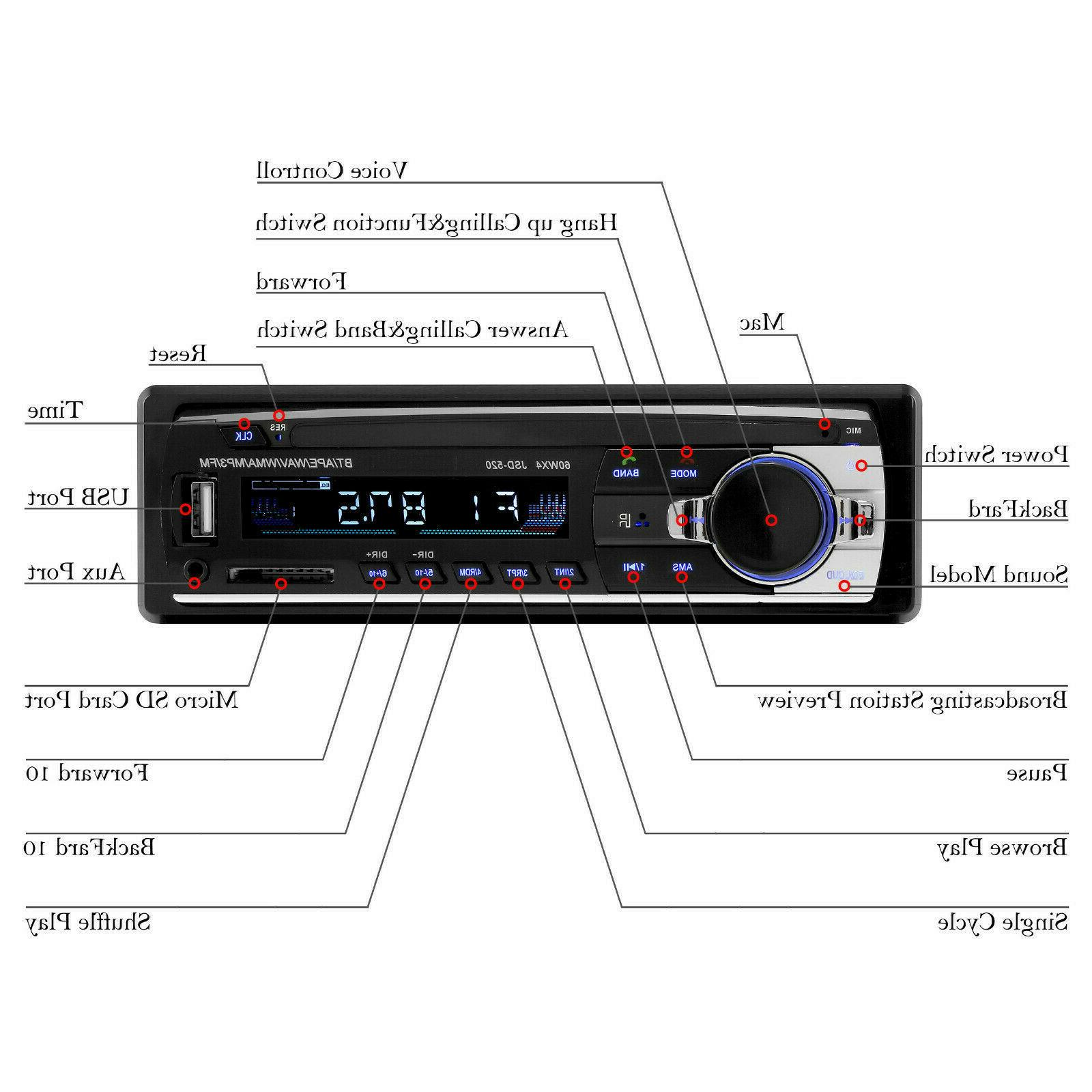 Bluetooth Car Stereo Audio In-Dash Radio Player